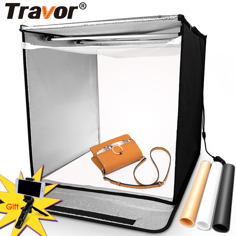 TRAVOR Light Box 60*60CM Portable Softbox Phone Lightbox With Three Color Background For Photo Studio Tent Photography LED Light
