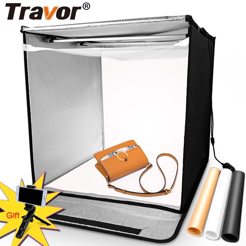 Boîte à lumière de TRAVOR 60*60 CM Portable Softbox téléphone Lightbox avec trois couleurs de fond pour Photo Studio tente photographie lumière LED