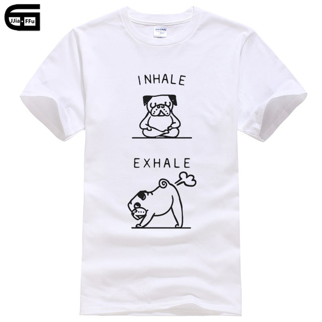 84a02b30 Funny men's T-shirt Inhale Exhale Pug printed T shirt summer brand short  sleeved cool Tees male shirt cotton tops T419