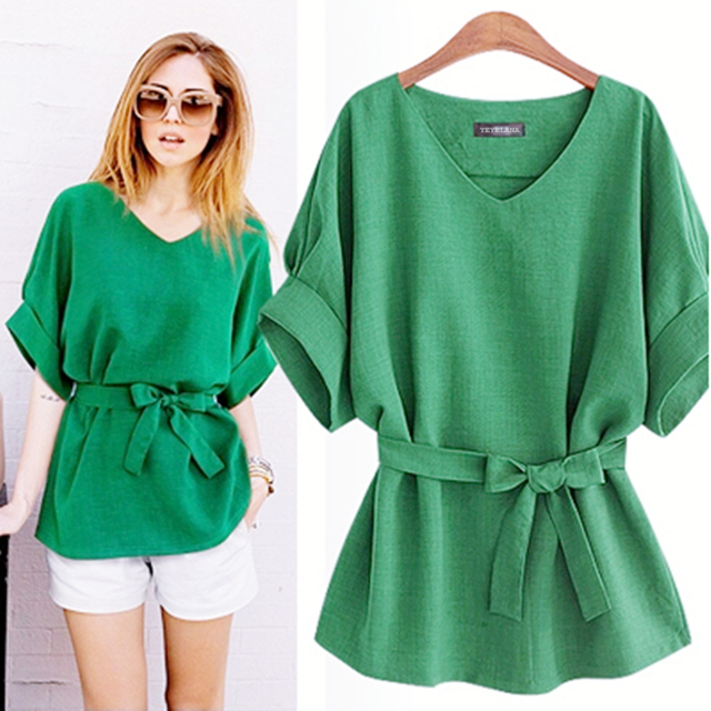 YEYELANA 2018 Summer Women Blouses Linen Tunic Shirt V Neck Big Bow Batwing Tie Loose Ladies Blouse Female Top For Tops A073 2