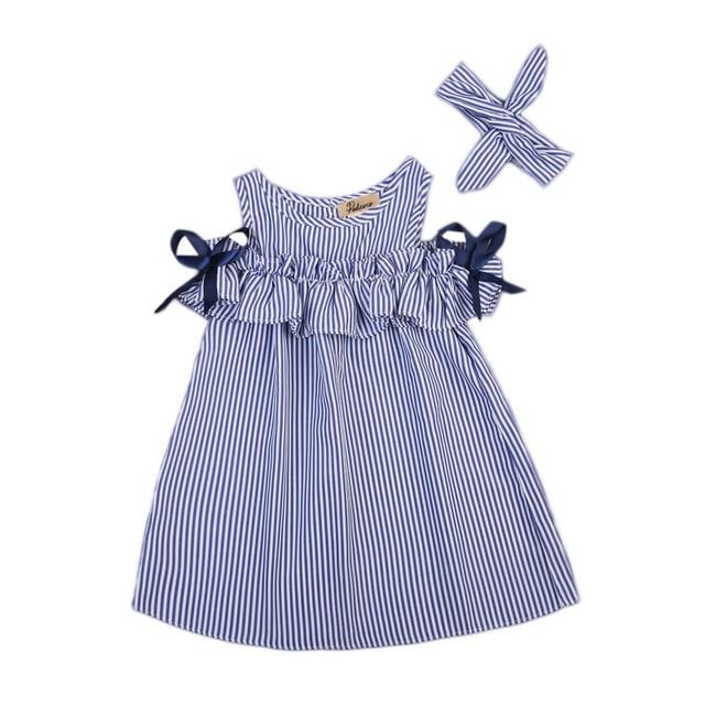 b46f60b3b طفل أطفال 1-6y اطفال بنات صيف ملابس قطن مقلم الكشكشة البسيطة اللباس العصابة  2