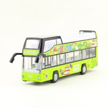 Diecast Metal Toy/Sound & Light Pull back Educational Car/City Sightseeing Convertible big Bus/For children's gift or collection