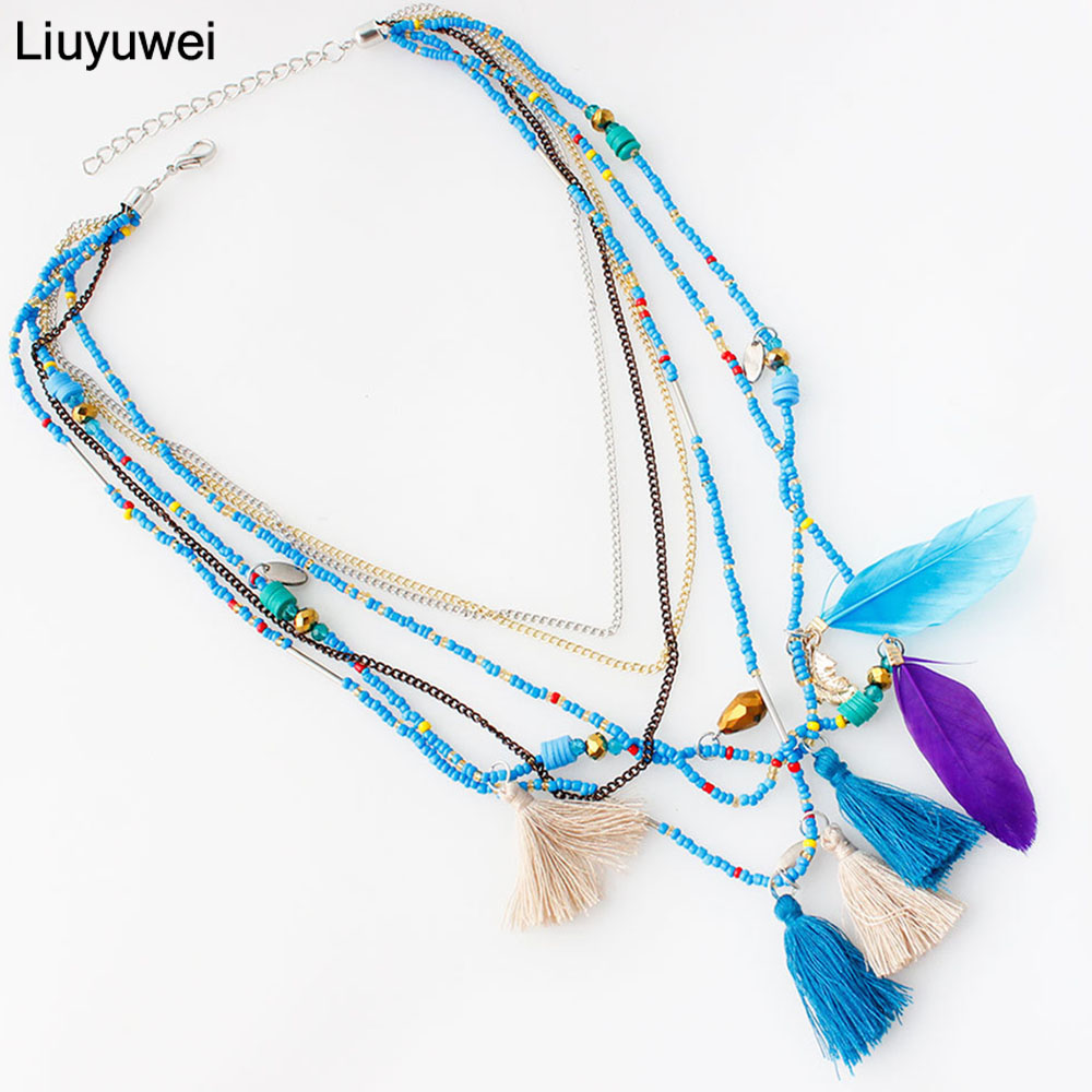 Liuyuwei MultiColor Feather Necklaces & Pendants Beads Chain Statement Necklace Women Collares Ethnic Jewelry for Gifts YWHYN324