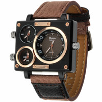 Роскошные Кварцевые часы бренд прямоугольник для мужчин кварцевые платье Модные Oulm 3595 Три Часовой пояс холст ремень Relogio Masculino