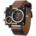 Reloj de Cuarzo Marca de lujo Rectángulo Cuarzo de Los Hombres Viste el Reloj de Moda Oulm 3595 de Zona de Tres Tiempos de Lona Correa Relogio masculino