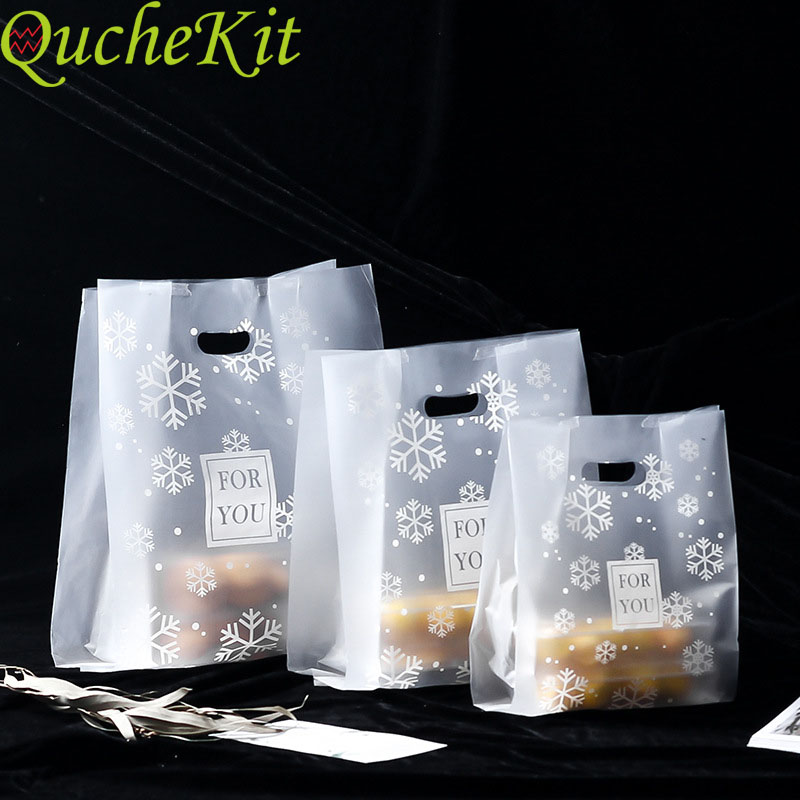 50pcs Snowflake Plastic Gifts Bag For You Wedding Christmas Candy  Packaging Bag Plastic Shopping Bag Candy Cake Wrapping Bags