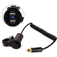 Motorcycle 5V 4 2A Dual USB Power Car Charger Adapter Blue LED Voltmeter With Plug Spring