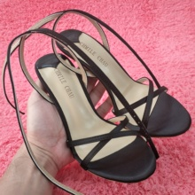 Women Stiletto Thin High Heel Sandal Sexy Ankle Strap Open Toe Black Satin Wedding Party Bridals Ball Lady Shoe 158-a