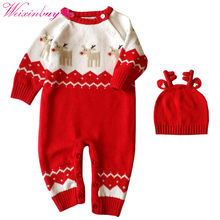 Autumn Winter Newborn Baby Boys Girl Romper Christmas Clothes Knitted Sweaters Reindeer Outfit Sets 2pcs/set(China)