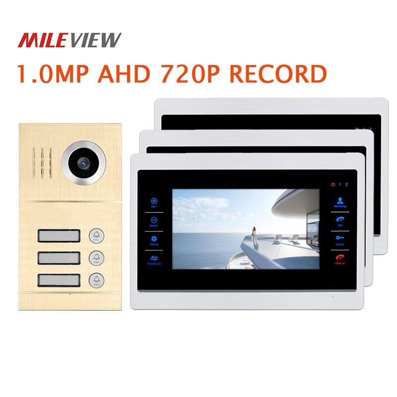 Free Shipping 3 Apartment 720P AHD 7 Video Intercom Door Phone Motion Detection System 3 Record Monitors Waterproof Door Camera my apartment