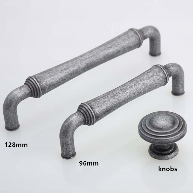 96mm 128mm Antique iron Dresser  drawer Knob Pulls Handles Antique Black  Furniture Hardware Kitchen Cabinet Door Handle 5 2 5 3 75 5 rustic dresser drawer pulls handles kitchen cabinet door handles knobs antique silver black hardware 64 96 128 mm
