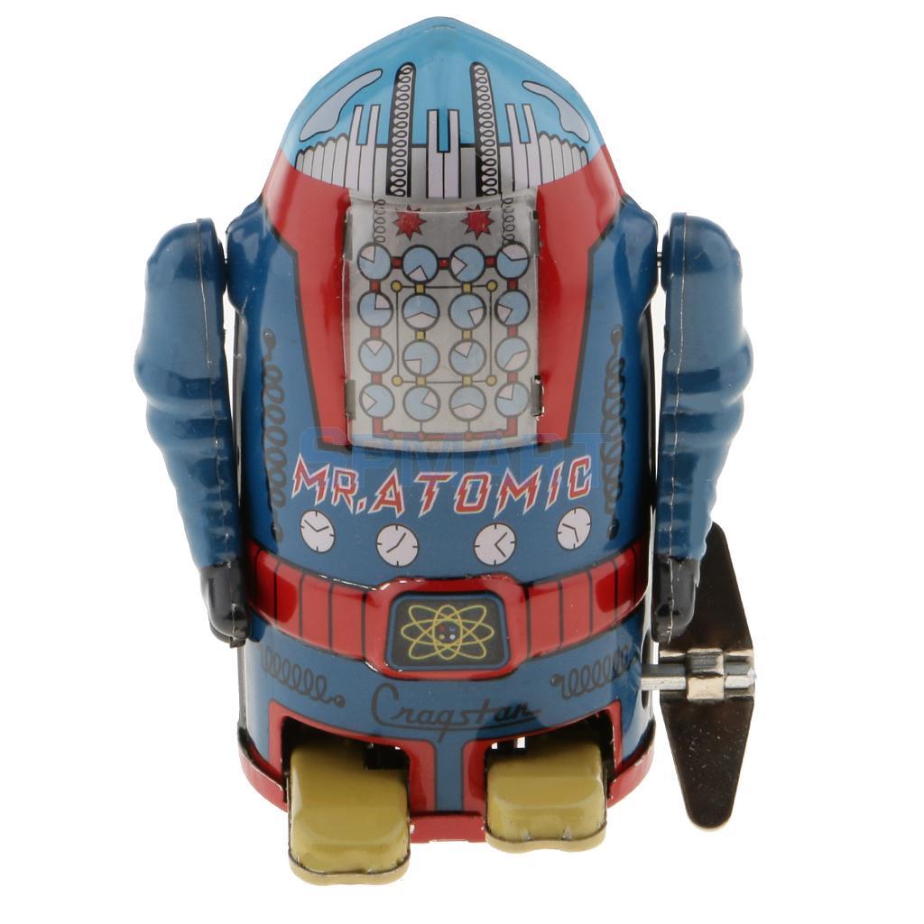 все цены на Vintage Wind Up Clockwork Mechanical Walking Tin Robot Toy Blue Collectibles