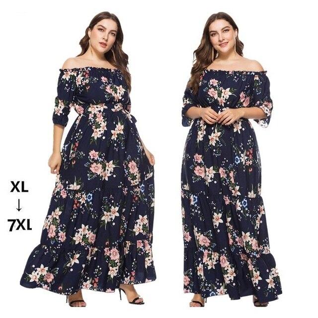 Robe maxi Summer women slash neck ruffles floral printed maxi dress Casual  long dress Plus size a7809bf2f452