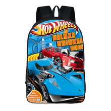 Cartoon Women bags Hot wheels prints Backpack Students School Bag For Girls Boys Rucksack mochila customize Halloween gift