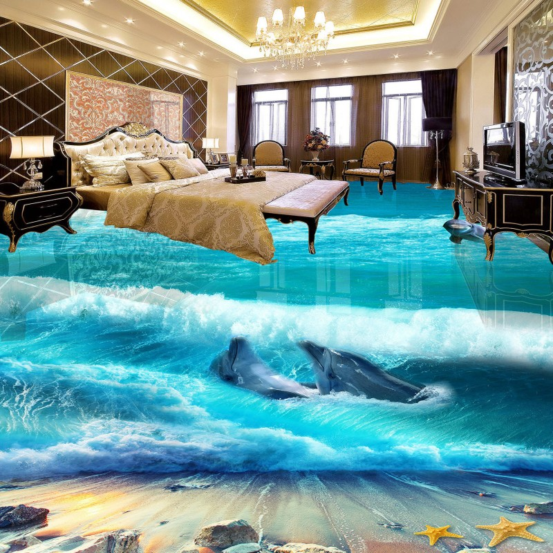 Free shipping custom Beautiful Beach Spray 3D Floor anti-skidding thickened bathroom mural wallpaper living room flooring цена 2017