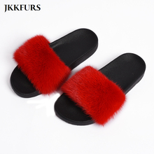 Womens Real Mink Fur Slides Fluffy 2019 New Arrivals Ladies Sliders Top Quality S6027