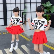 Girl Street Dance Costume Jazz Loose Short-sleeved Hip Hop Skirt  Summer Performance Dress
