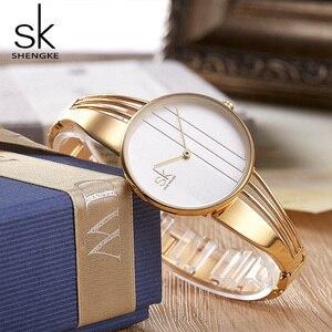Image 5 - Shengke, relojes de pulsera lujosos de oro rosa para mujer, reloj de cuarzo creativo para mujer, reloj de pulsera para mujer 2019 SK # K0062