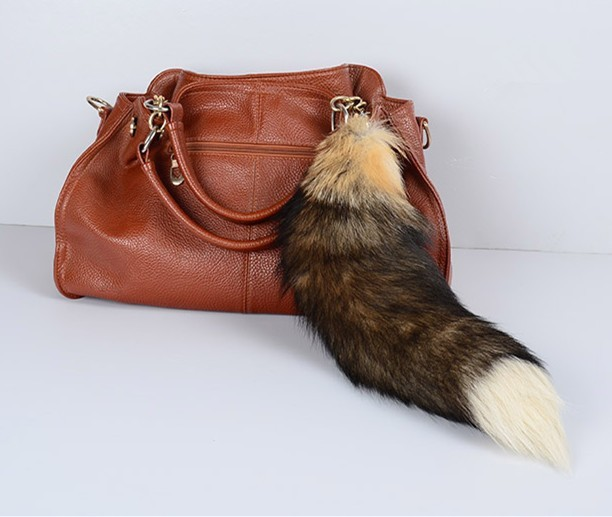 Natural bags car key belt  Fur charm key chain yellow natural fluffy real raccor tail backpack pendant