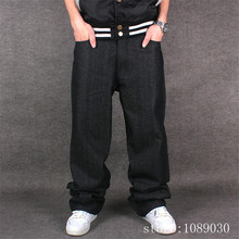 2016 Brand Men Casual Jeans Mens Baggy Skate Jeans Solid Black Embroidery Letter Hip Hop Rap Fashion Pants loose trousers C239