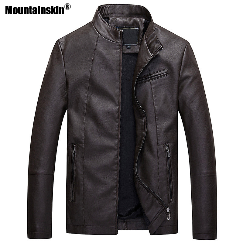 Mountainskin Mens Leather Jackets Autumn Winter Thick Coats Men Velvet Faux Biker Motorcycle Jacket Warm Male