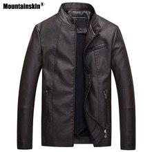 Mountainskin Для мужчин s Кожаные куртки осень-зима плотные пальто Для мужчин бархат искусственного Байкерская мотоциклетная куртка Теплая мужская верхняя одежда SA592