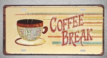 1 pc Coffee Break time Cappuccino work pause espresso Tin Plates Signs wall man cave Decoration Metal Art Vintage Poster