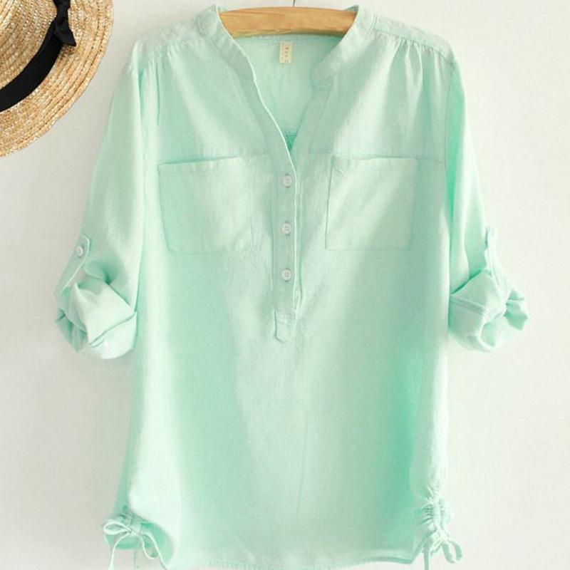 White Pleated Blouse Ladies Office Shirts Long Sleeve Linen Shirt