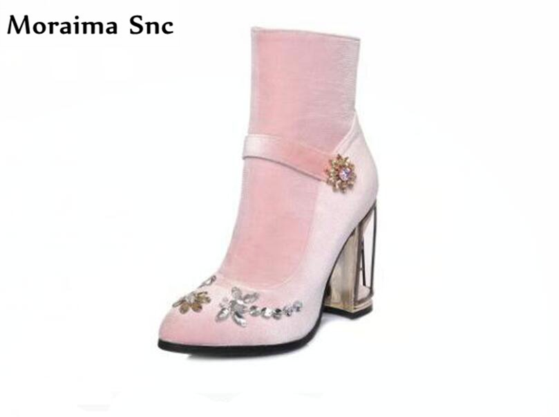 Moraima Snc fashion women Riding boots vintage suede high heel square heel pointed toe rivets mid-calf side zipper wedding shoes 2018 new arrival fashion winter shoe genuine leather pointed toe high heel handmade party runway zipper women mid calf boots l11