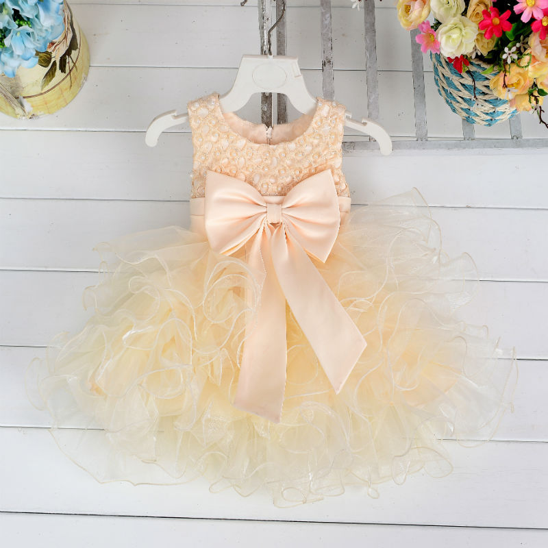 Ball Gown Sleeveless Champagne Knee Length   Flower     Girl     Dresses   Pink Blue Kids   Dress   Children   Girls     Dresses   with Bow