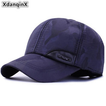 XdanqinX Winter Mens Earmuffs Hat Thick Cotton Baseball Caps Adjustable Head Size Brands Cap Snapback Bone Warm Dad Hats