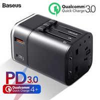 Baseus 18 w carregador de viagem usb suporte carga rápida 4.0 3.0 mais ue reino unido adaptador eua telefone móvel carregador pd 3.0 carregador para iphone