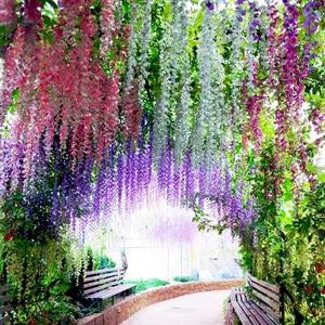 Guirnalda de flores artificiales de seda, hortensias, glicinia, flores colgantes con hojas, flor Artificial para exteriores, jardín H0045