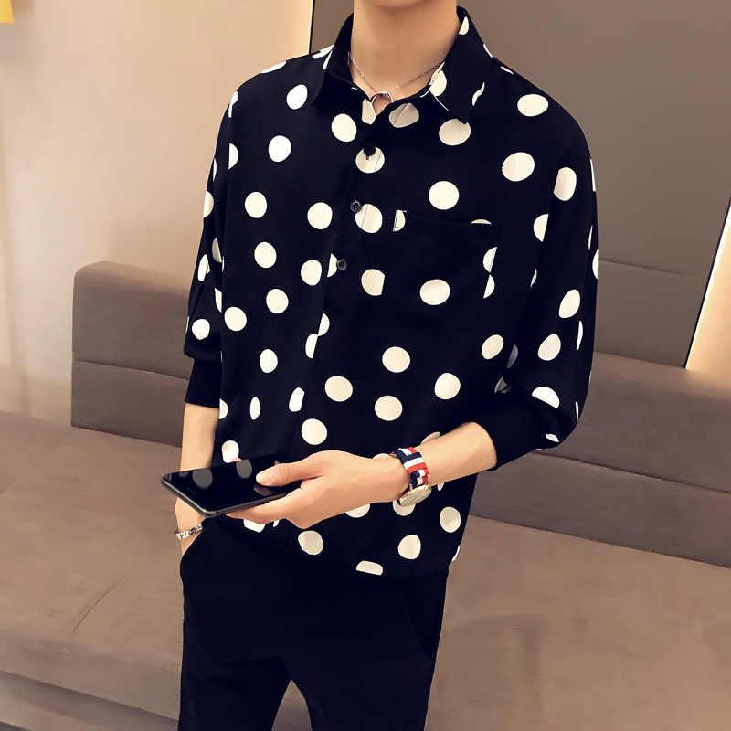 2019 Summer Men Shirts Polka Dots Single Pocket Half Bat