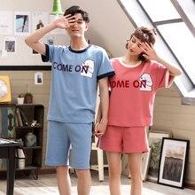 Pijama de verano de algodón con dibujos animados, conjunto de pijamas de pareja, conjunto de dos piezas de manga corta, ropa de dormir para amantes de talla grande