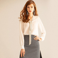 Women Blouses Spring Casual Silk Blouse White Loose Long Sleeve Shirts Elegant Business Formal OL Work Wear Blusas Feminina Tops