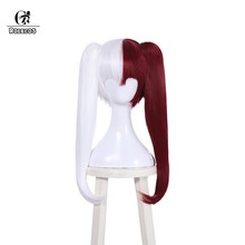 ROLECOS Shouto Todoroki Cosplay Hair Anime My Hero Academia Cosplay Women Headwear White Mixed Red Synthetic Long Clip Ponytails(China)