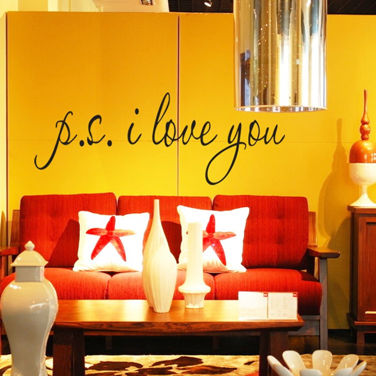 P.S.I LOVE YOU DIY Removable English Wall Stickers Wall Art Decal Mural Decal Background Wall decoration stickers DF5302