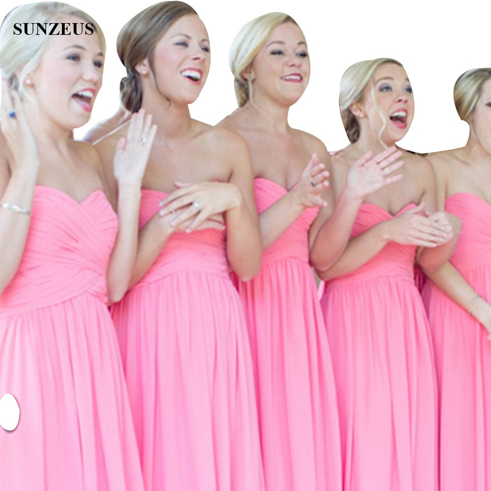 Bright Pink Bridesmaid Gowns With Pleated Corset Long Chiffon Wedding Party Dress A line Sweetheart Simple Formal Gown BDS018