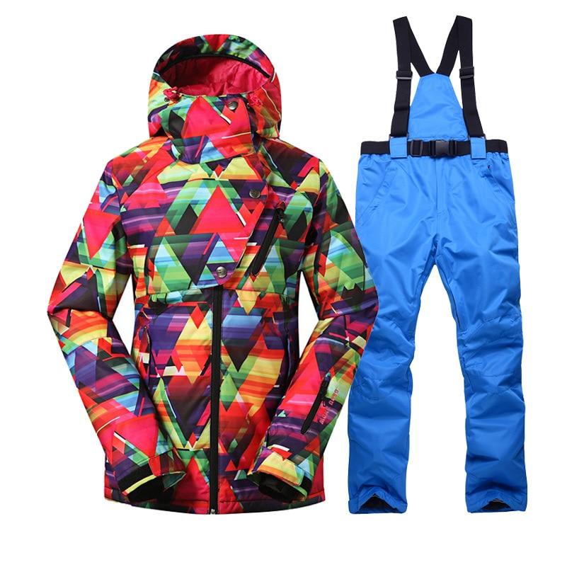 Ski Suit Women Ski Jacket Pants Waterproof Snowboard Sets Winter Outdoor Cheap Skiing Suit Sport Clothing 2016 women waterproof snowboard jacket skiing pants mujer winter outdoor snow pants printing ski suit winter ski jacket women