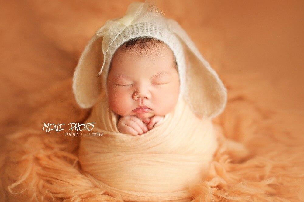 100% fait main crochet mohair chapeau bonnet cap, chien grandes oreilles bonnet pour nouveau-né accessoires, bébé chapeau accessoires photo