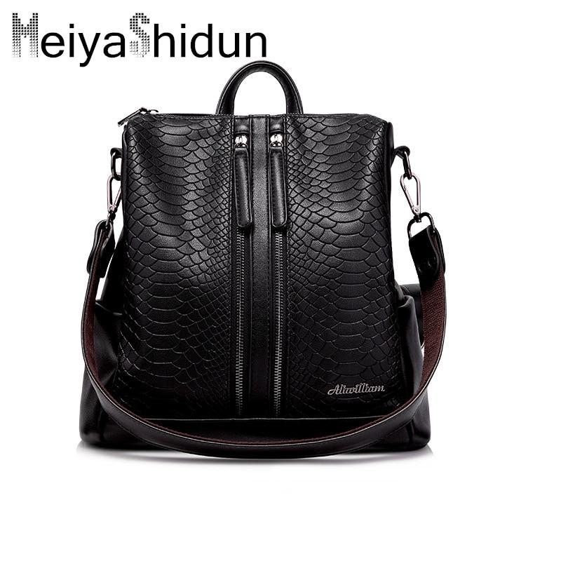 MeiyaShidun brand backpack women s bag genuine leather backpacks classic serpentine Back pack School Bags Girl