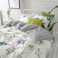 綿のベッドリネン高スレッドカウントサテン寝具セット花のベッドカバー葉布団カバーセットフェザープリント寝具