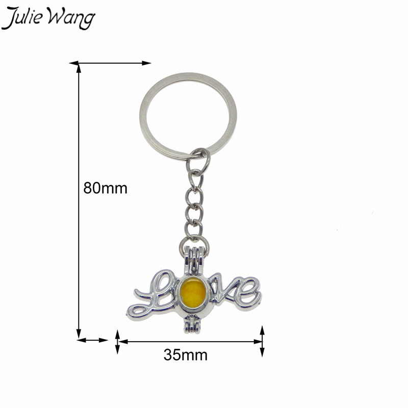 Julie Wang 1pc LOVE Cage Locket Key Chain Openable Pendant Family Hanging Accessory Essential Oil Diffuser Zinc Alloy Keychain