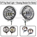 """Pair 4.5"""" LED Projector Auxiliary Passing Spot Fog Head Light Lamp + 4.5"""" Housing Bracket Mount Ring Bracket For Harley Touring"""