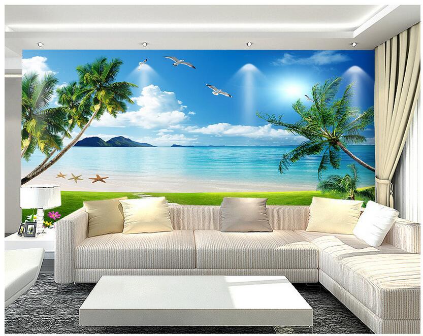 Custom 3 D Photo Wallpaper Wall Murals 3d Wallpaper Beach: 3d Wallpaer Custom Photo Non Woven Mural Beach Scenery