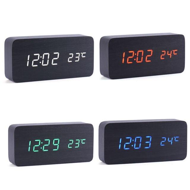41dc9896abf Tabela Relógio Digital Com luz de Fundo LED Quarto Cabeceira Candeeiro de  Mesa De Madeira Relógio