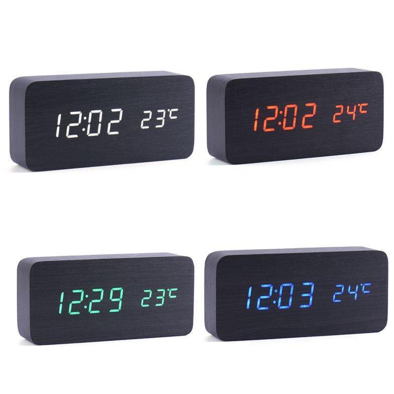 Table Digital Clock With LED Backlight Bedroom Bedside Desk Wooden Clock Desktop Sound Control LED Clock Thermograph Nice Gift