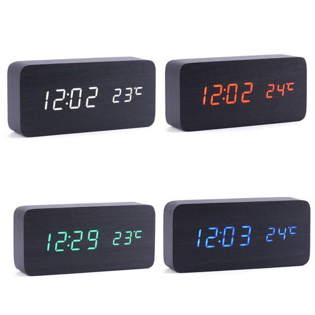 Wandtisch Digitaluhr Mit Led Hintergrundbeleuchtung Schlafzimmer  Nachttischlampe Schreibtisch Holz Clock Sound Control LED Uhr Thermograph