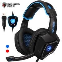Desgaste Espírito Lobo USB SADES 7.1 Surround Sound Gaming Headset confortáveis Fones de Ouvido Com Fio com Cool Led light para Laptop & PC